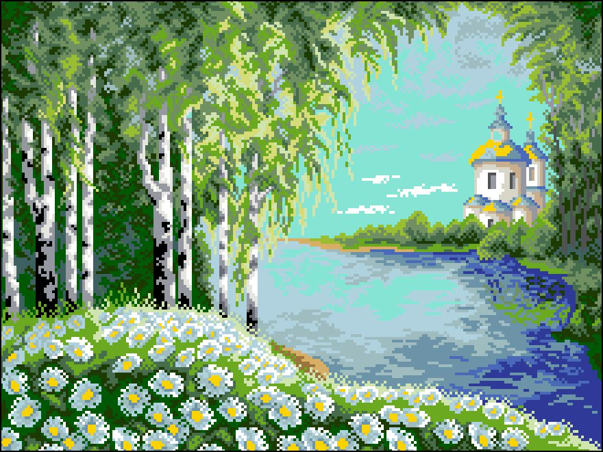 П-014 Канва с рисунком 'Гелиос' 'Берёзы и церковь', 35х45 см