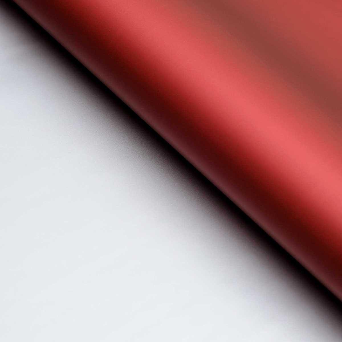 128386 Пленка матовая двухсторонняя 60*60 см, цвет бордовый/серебряный