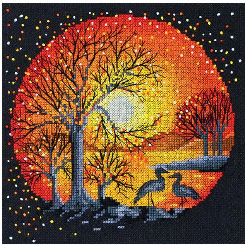 АН-021 Набор для вышивания крестом 'Цапли на закате' 18*18см