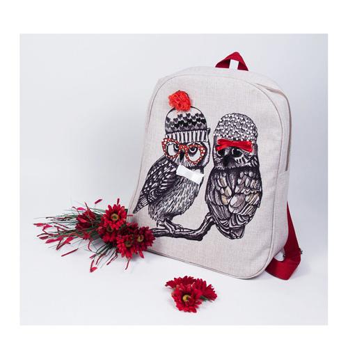 8521 Набор для шитья и вышивания текстильная сумка Матренин Посад 'Совушки-подружки' 44*46см