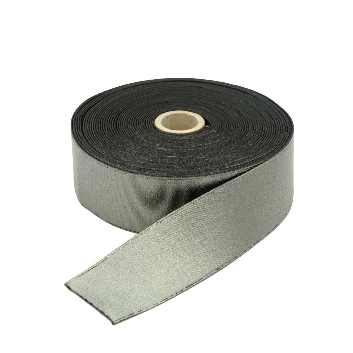 D-DBL-0146 Резинка башмачная с покрытием, черное серебро 40мм*10м
