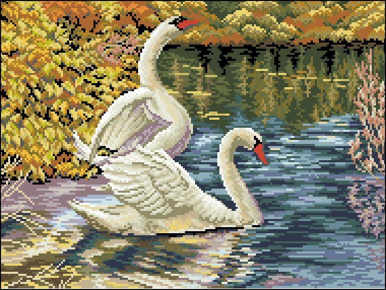 Ф-010 Канва с рисунком 'Гелиос' 'Лебеди', 31х40 см