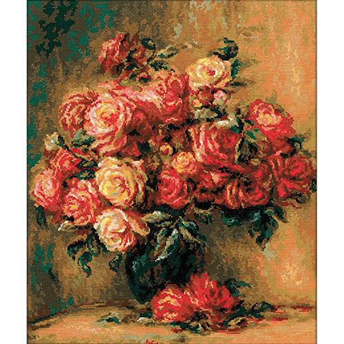 1402 Набор для вышивания Riolis по мотивам картины Пьера Огюста Ренуара 'Букет роз', 40*48 см