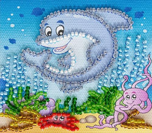 АМА-002 Набор-магнит для вышивания 8*7см 'Подводное царство'