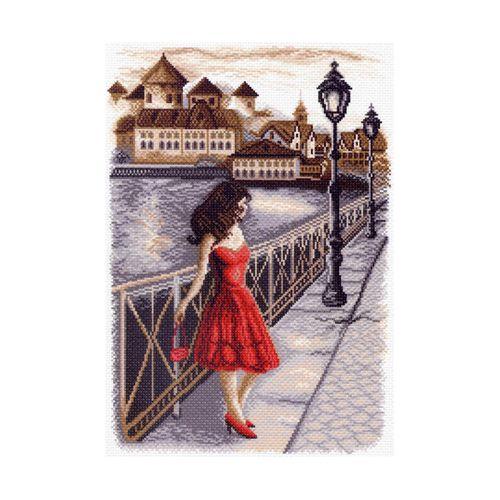 1451 Канва с рисунком 'Матренин посад' 'Вечер на набережной', 37*49 см