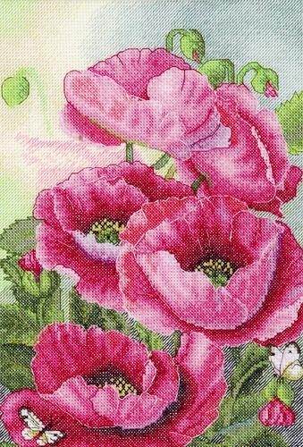 778 Набор для вышивания Hobby&Pro 'Розовые маки', 19*28 см