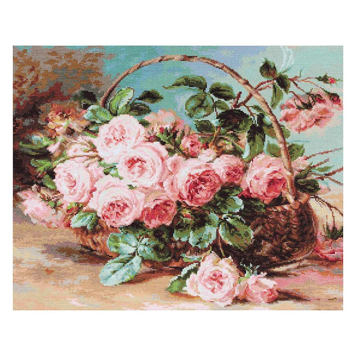 G547 Набор для вышивания гобеленовым стежком 'Корзина с розами' 30*24см, Luca-S