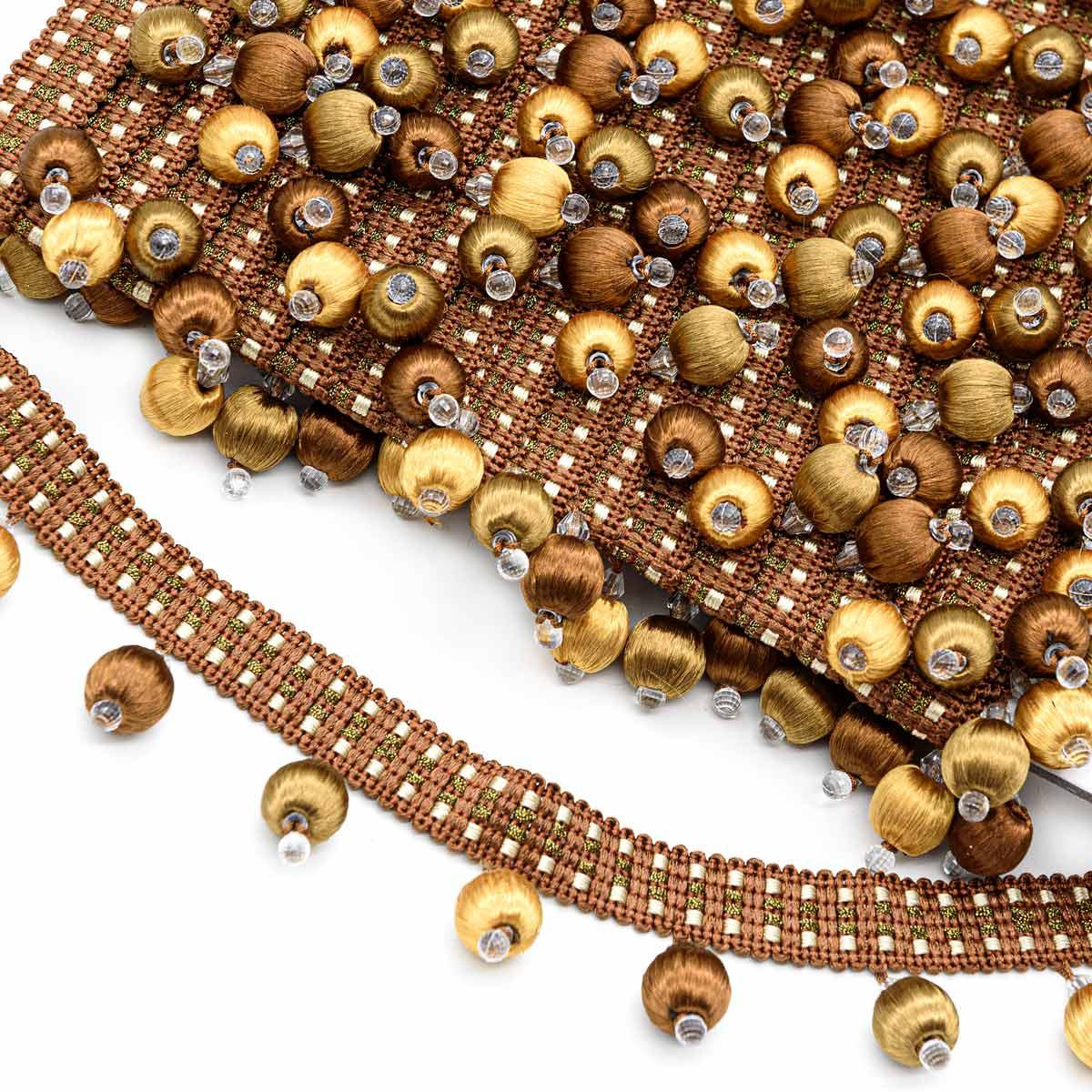 MZ2018-5 коричневый/золото бахрома 'Бубенчики-шарики' (5 см/D1,5см/12 м)