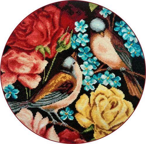 X-1138 Набор для вышивания Expressions 'Синицы и цветы 2', 28x28 см