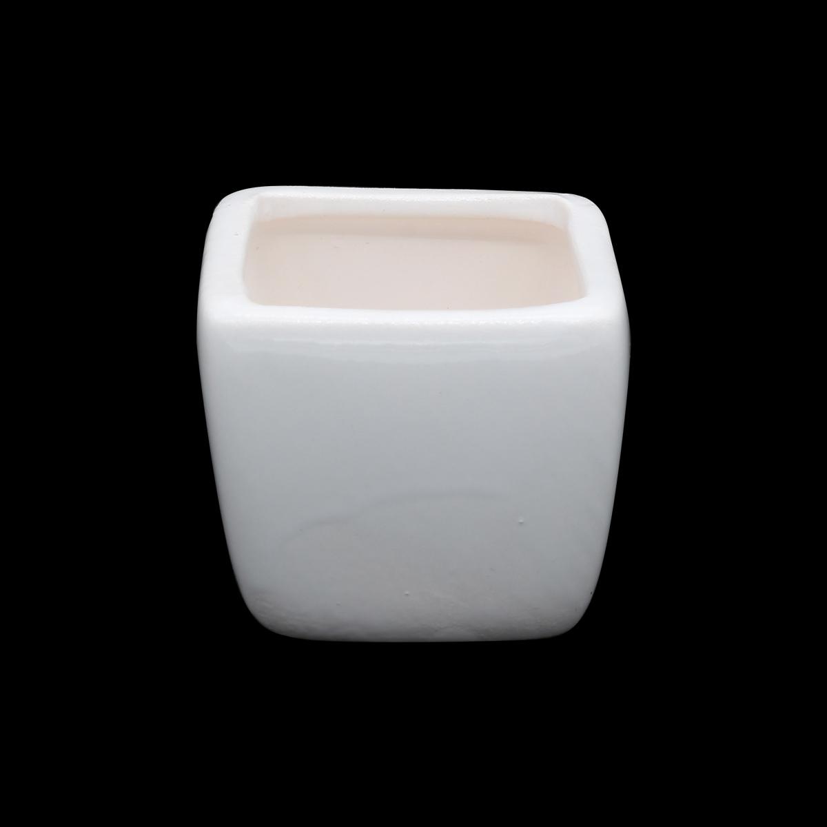 AR067 Горшок мини, керамический квадратный для цветов, 5*5,5см, цв. белый