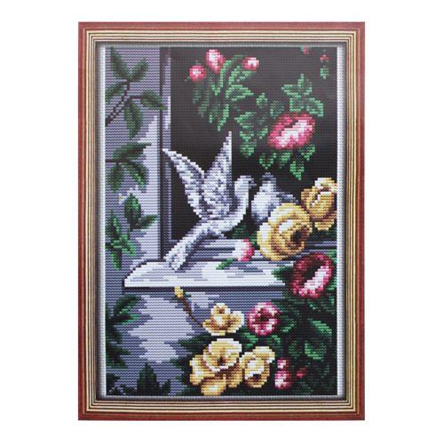 228 Набор для вышивания Lutars 'Голуби в окне', 16х25 см