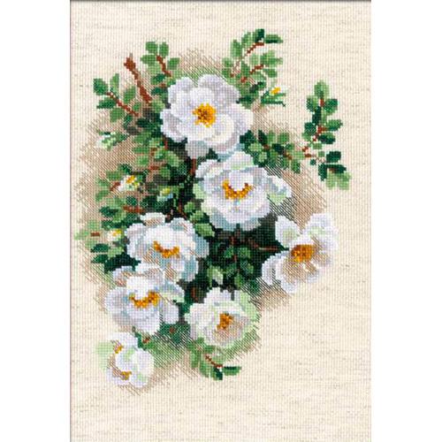 1351 Набор для вышивания Riolis 'Белый шиповник', 21*30 см