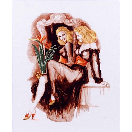 1127 Набор для вышивания Alisena 'Дама у зеркала', 38*49 см