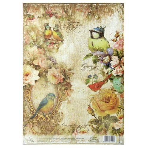 1002644 Декупажная карта 'Птицы', 21 х29,7 см