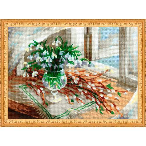 1641 Набор для вышивания Риолис 'Верба и подснежники' 21*27*0.9 см
