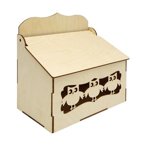 L-1150 Деревянная заготовка коробка под специи 'Совушки' 20*20*12,5см Астра