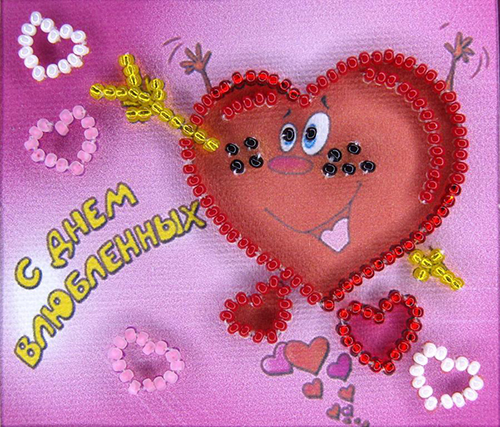АМА-059 Набор-магнит для вышивания 'Абрис Арт' 'С Днем влюбленных-2', 8*7 см